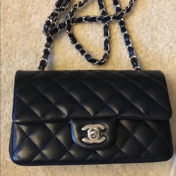 027c3c692e28 CHANEL Bags | Mini Flap Bag Lambskin Silver Metal Black | Poshmark